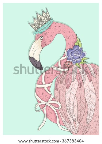 cute flamingo with flower crown