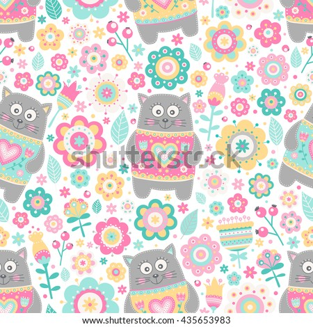 cute flat cat vector seamless