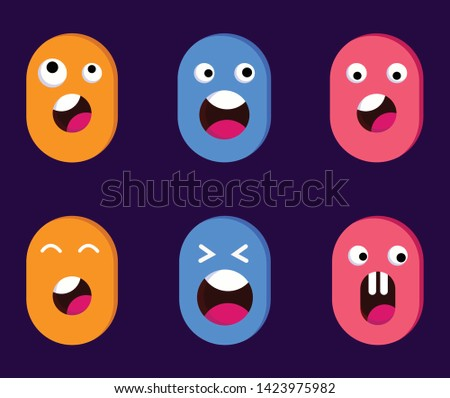 Cute Flat Character illustration. Emotions: smiling, showing tongue, screaming, sad, surprised. Simple cartoon design. Character face animation elements.