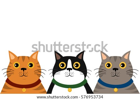 cute flat colorful cat portrait