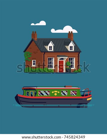 Cute flat design vector illustration on British countryside vacation and recreation with narrow canal boat and small Georgian cottage or guest house