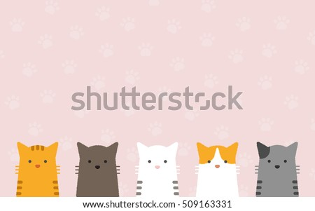 cute flat pastel cat portrait...