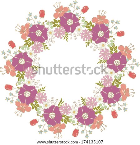 Cute floral frame.  Perfect for wedding invitations and birthday cards.