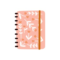 Cute Floral Notebooks notepads, memo pads, planners, organizers for making writing notes and jotting with abstract dry flowers composition. Hand drawn flat vector illustration.