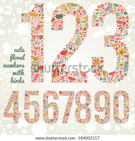 Cute floral numbers with birds Numbers made of flowers and birds in bright colors Zero one two three four five six seven eight nine signs in vector