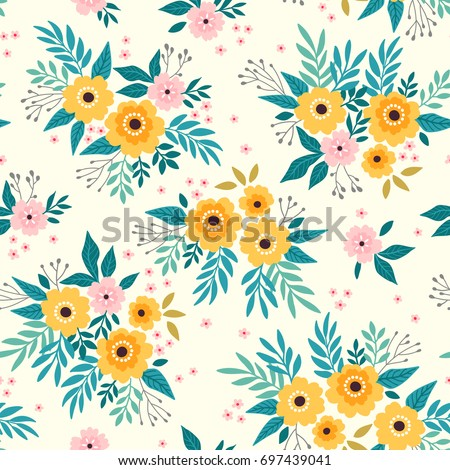 Cute floral pattern beautiful flower. Seamless vector texture. Elegant template for fashion prints. Printing with small yellow flowers. White background.