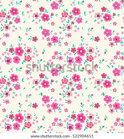 "Cute Floral pattern in the small flower. ""Ditsy print"". Motifs scattered random. Seamless vector texture. Elegant template for fashion prints. Printing with very small light flowers. White background."