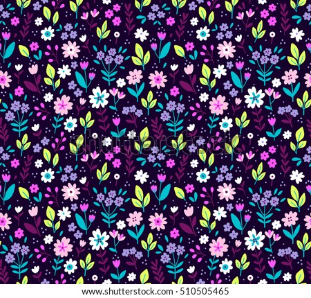 "Cute Floral pattern in the small flower. ""Ditsy print"". Seamless vector texture. Elegant template for fashion prints. Printing with very small colorful flowers. Purple background."