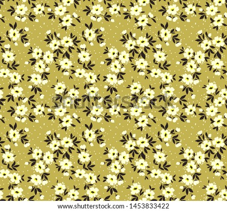 Cute floral pattern in the small flower. Ditsy print. Seamless vector texture. Elegant template for fashion prints. Printing with small white flowers. Golden color background.