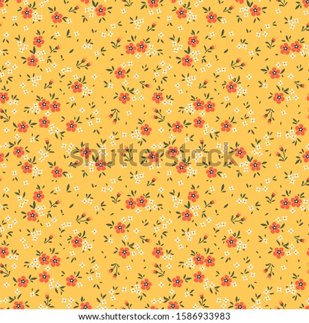 Cute floral pattern in the small flower. Ditsy print. Seamless vector texture. Elegant template for fashion prints. Printing with small orange flowers. Pale yellow background.
