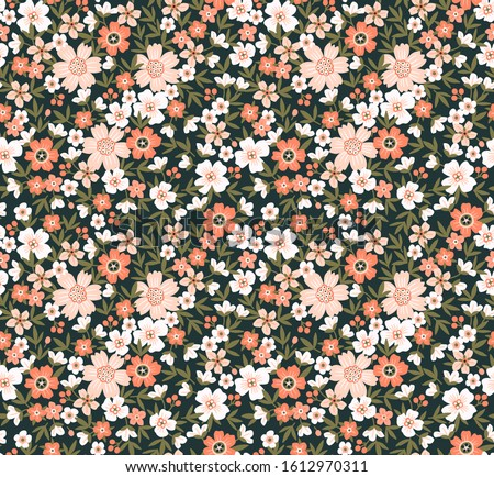 Cute floral pattern in the small flower. Ditsy print. Seamless vector texture. Elegant template for fashion prints. Printing with small pale pink flowers.  Dark background.
