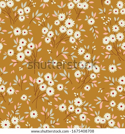 Cute floral pattern in the small flower. Ditsy print. Seamless vector texture. Elegant template for fashion prints. Printing with small white flowers. Pale gold background.