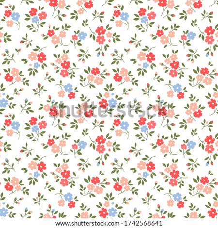 Cute floral pattern in the small flowers. Ditsy print. Motifs scattered random. Seamless vector texture. Elegant template for fashion prints. Printing with small pink flowers.  White background.