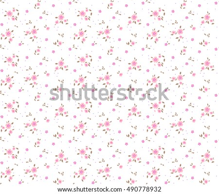 "Cute Floral pattern of small flowers. ""Ditsy print"". Seamless vector texture. Elegant template for fashion prints. Very small pink flowers on white background."