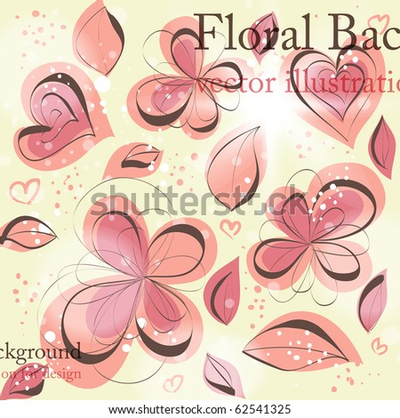 Cute floral seamless background with abstract hand drawn flowers ...