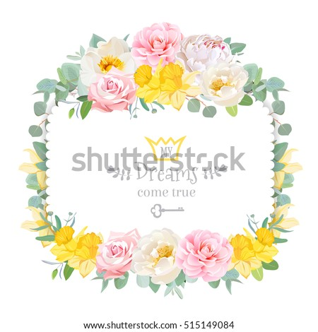 cute floral square vector