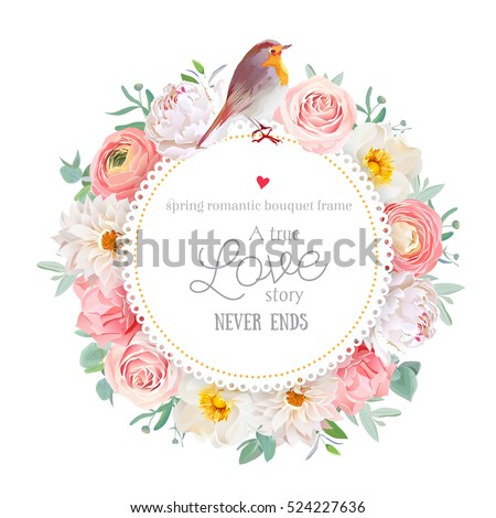 Cute floral vector round card with white peony, peachy rose and ranunculus, dahlia, carnation flowers, eucalyptus leaf, mixed plants and small robin bird. All elements are isolated and editable
