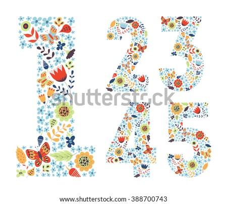 cute floral vintage numbers set