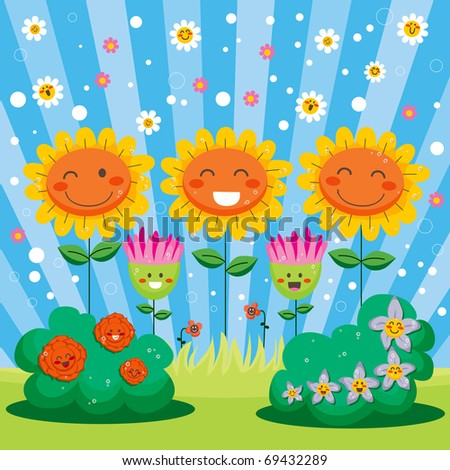 Cute flower garden full of happy flowers celebrating spring welcome party