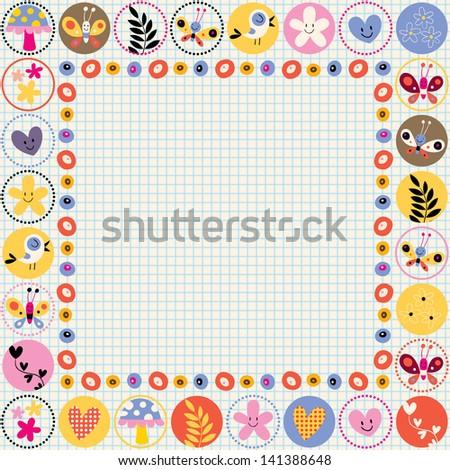cute flowers, birds & hearts decorative border