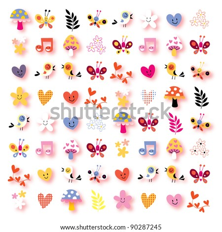 cute flowers, birds, hearts, mushrooms nature background