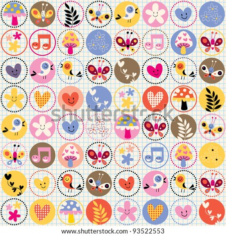 cute flowers, birds, hearts pattern