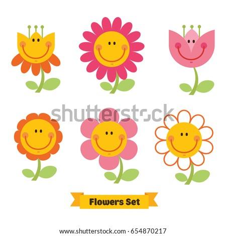 cute flowers emoticon set