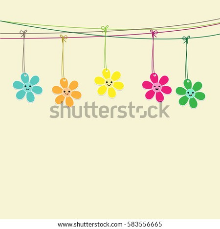 Cute flowers hanging on string