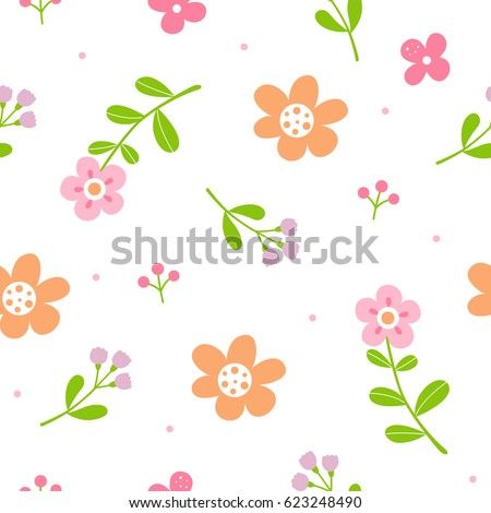 cute flowers pattern with white