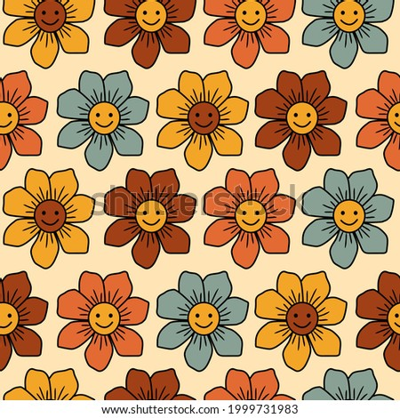 Cute flowers with 70's retro colors seamless pattern Background. Perfect for fabric, wallpaper, giftwrap, scrapbooking art and packaging design projects. Сток-фото ©