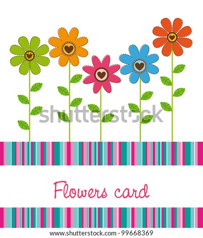 cute flowers with stripes background. vector illustration