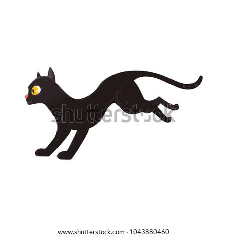 cute fluffy black cat running