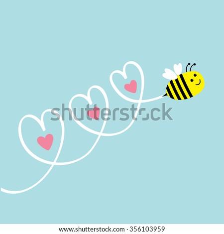 cute flying bee three hearts