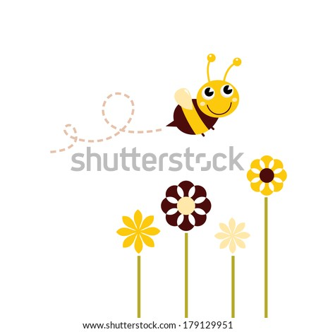 cute flying bee with flowers