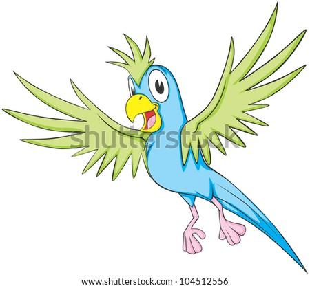 Cute Flying Parrot Illustration
