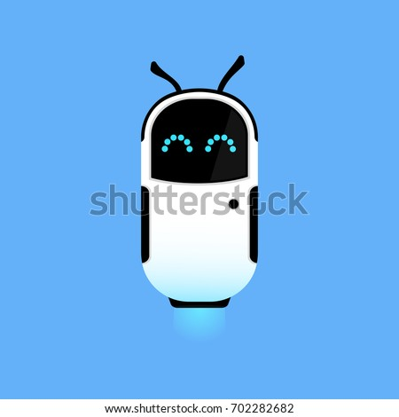 cute flying robot on a blue