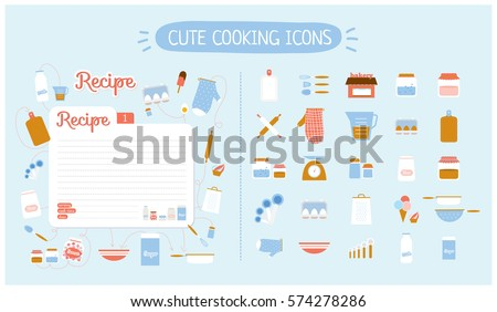 Cute Food Icons Set For Restaurant Cafe Bakery And Fast Vector Illustration