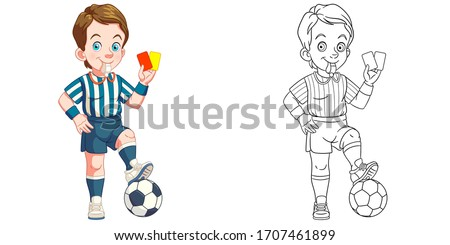 Cute football referee. Coloring page and colorful clipart character. Cartoon design for t shirt print, icon, logo, label, patch or sticker. Vector illustration.