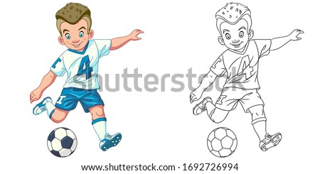Cute footballer, young boy playing football. Coloring page and colorful clipart character. Cartoon design for t shirt print, icon, logo, label, patch or sticker. Vector illustration. Stockfoto ©