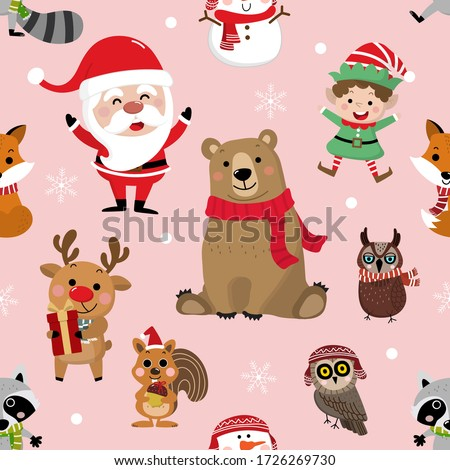 Cute forest animals and Santa Claus in Christmas holidays background. Wildlife cartoon character vector. Elf, snowman, deer, bear, owl, raccoon, fox and squirrel in winter costume seamless pattern.