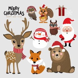 Cute forest animals and Santa Claus in Christmas holidays. Wildlife cartoon character vector set. Santa Claus, snowman, deer, bear, owl, fox and squirrel in winter costume.
