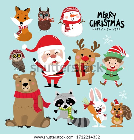 Cute forest animals and Santa Claus in Christmas holidays. Wildlife cartoon character vector set. Elf, snowman, deer, bear, owl, raccoon, rabbit, fox and squirrel in winter costume.