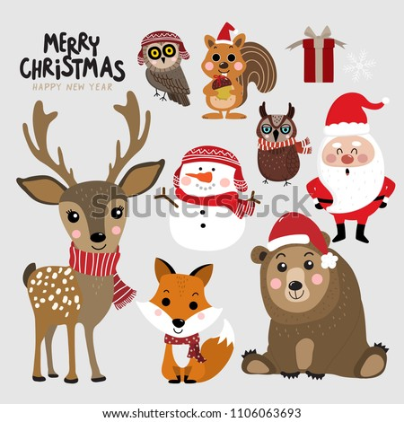 cute forest animals and santa
