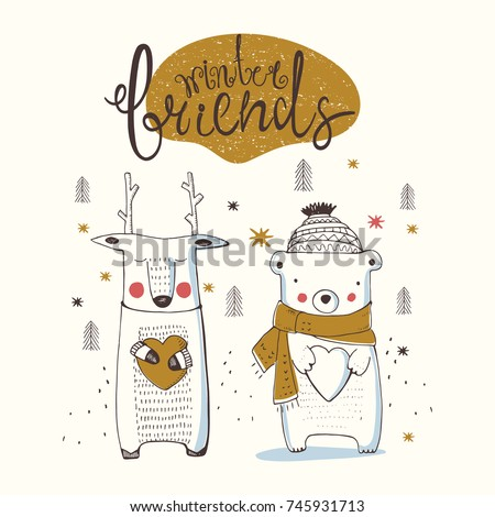 cute forest animals,bear and deer,hand drawn vector illustration.can be used for kid's/baby's shirt design/fashion print design/fashion graphic/t-shirt/tee