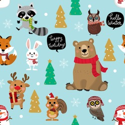 Cute forest animals in Christmas holidays background. Wildlife cartoon character vector. Snowman, deer, bear, owl, raccoon, fox, rabbit and squirrel in winter costume seamless pattern.