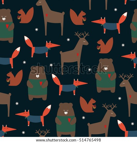 cute forest animals seamless