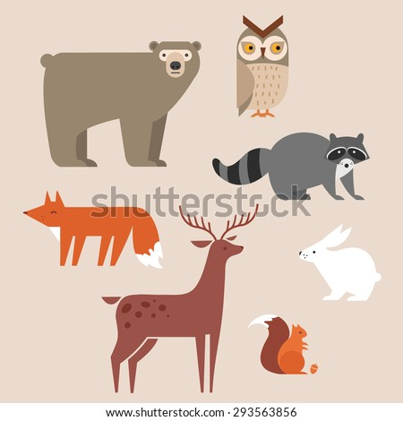 cute forest animals vector set
