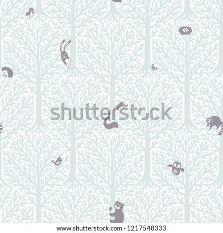 Cute forest with animals and birds. Great decor and wallpaper for baby, kids and nursery room in Scandinavian style. Vector seamless pattern. Cute Nordic background with forest animals in the woods