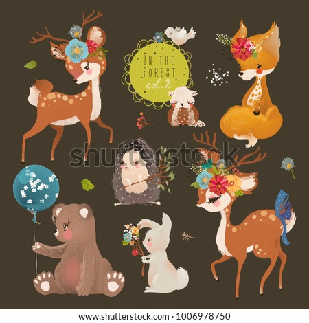 Cute forest, woodland animals collection. Baby bear, fox, bunny (rabbit), owl, bird, hedgehog and deer. Floral bouquets, wreath, basket with flowers and eggs, branch and balloons