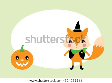 cute fox and pumpkin lantern halloween tag
